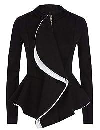 DressUWomen Asymmetrical Hem Skinny Zip Long-Sleeve Patchwork Blazer Coats