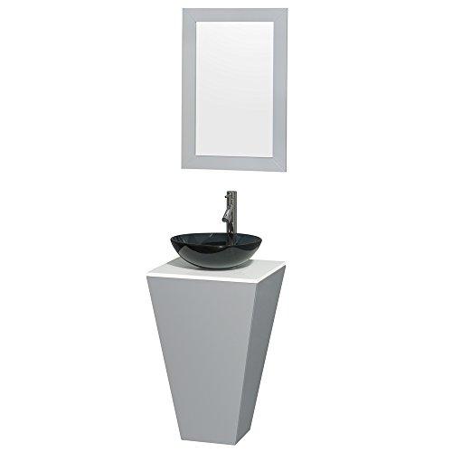 Wyndham Collection Esprit 20 inch Pedestal Bathroom Vanity in Gray, White Man-Made Stone Countertop, Smoke Glass Sink, and 20 inch Mirror