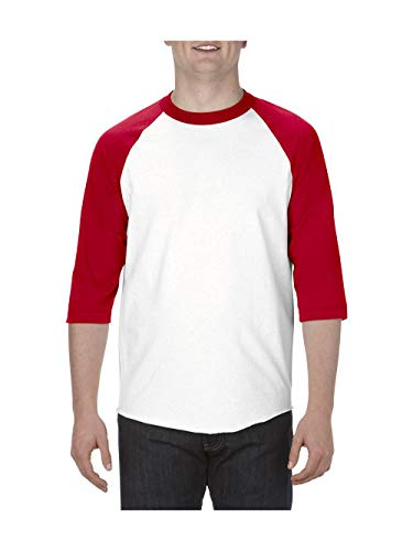 - Alstyle Apparel AAA Unisex Classic Raglan 3/4 Sleeve Baseball T-Shirt, White/Red, Medium