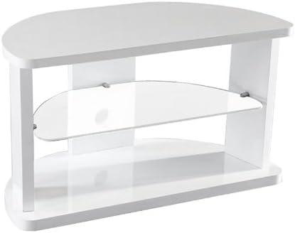 Meuble Tv D Angle Blanc Laque Arrondi Remy Amazon Fr
