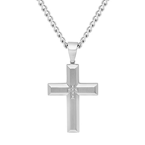 "Jewelry Nation Men's Diamond Accent Stainless Steel Cross Pendant Necklace with Chain, 24"" (White) from Jewelry Nation"