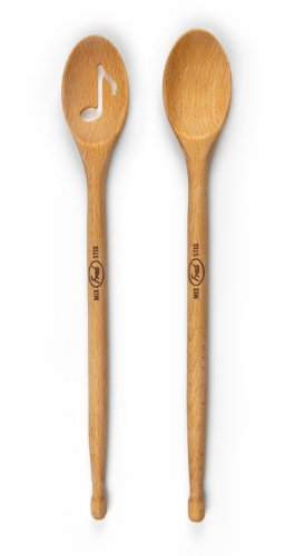 Add musical fun to your cooking with the Fred and Friends MIX STIX Drumstick Spoons. This set includes one slotted spoon and one solid spoon. The spoons are made of solid beechwood. These classic wood spoons are shaped like drumsticks at the ...