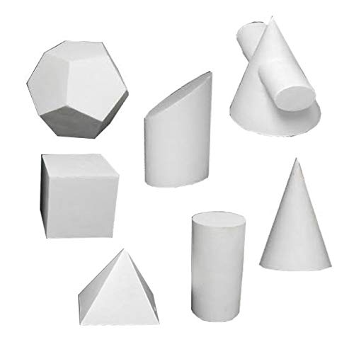 Torino Art Studio Plaster Cast Shapes Teaching and Drawing,Painting, Sketching Aid Sculpture Set of 7 Shapes Set #4