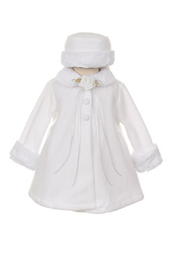 Girl's Cozy Fleece Long Sleeve Cape Jacket Coat - White Infant L 12-18 Months