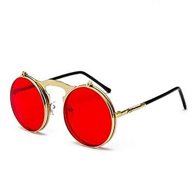 Retro Steam Punk Sunglasses Round Flip Up Metal Frame Glasses Ocean Red Lens Steampunk Sun Glasses Women Men CC1060