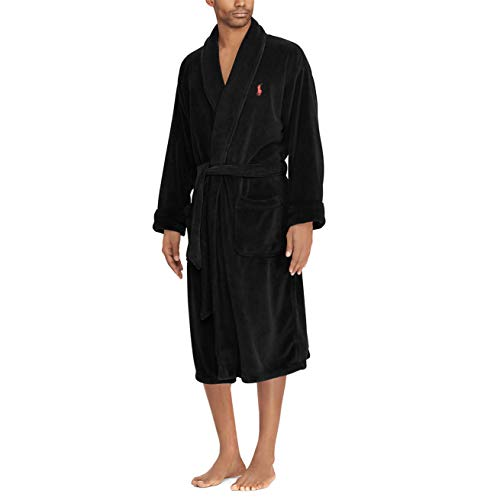 Polo Ralph Lauren Microfiber Plush Long Sleeve Shawl Collar Robe Polo Black/Rl2000 Red Pony Print SM/MD