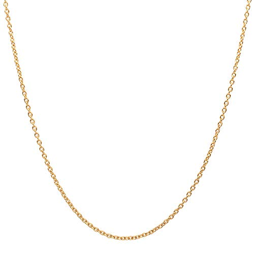 - 10K Yellow Gold 2.0MM Round Rolo Link Chain Necklace -Unisex Sizes Available-Made in Italy-Choose your Size & Color (Yellow, 24)