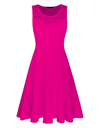 OUGES Women's A-Line Summer Sleeveless Midi Tank Dress(Rose,M)