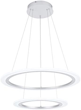 ROYAL PEARL LED Modern Chandelier Adjustable Pendant Light 2 Rings Acrylic Cool White 6000K Chandelier Pendant Lighting Fixture for Kitchen Island Living Dining Room Bedroom, Silver