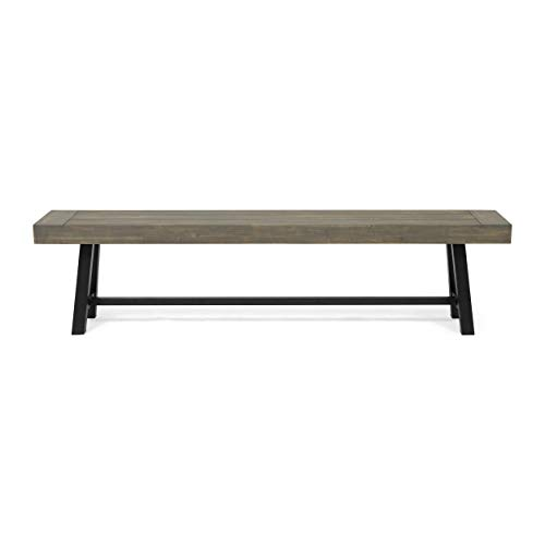 Great Deal Furniture Marian Outdoor Acacia Wood Bench, Gray Finish and Black Metal