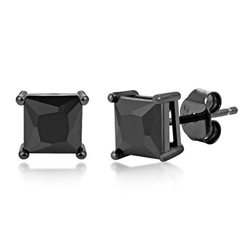 Black Rhodium Plated Radiant Princess Square Cut Black CZ Unisex Stud Earrings 8x8mm