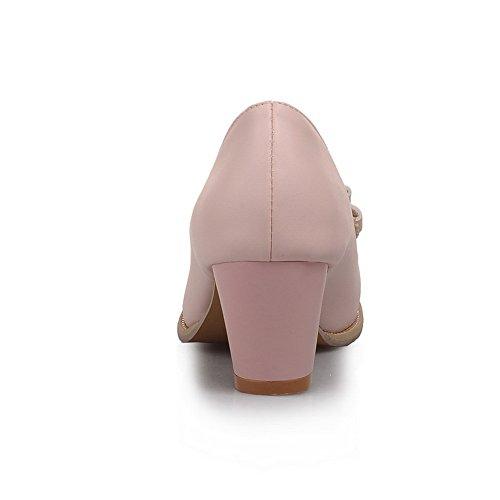 Balamasa Dames Strikken Hol Dikke Hakken Urethaan Pumps-schoenen Roze