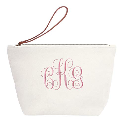 Personalized Custom Gift Makeup Cosmetic Bag Monogram Initial Fancy Embroidery Wristlet Travel Toiletry Clutch with Zip Canvas (Monogram Clutch Wristlet)
