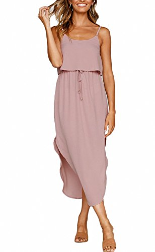 NERLEROLIAN Women's Adjustable Strappy Split Autumn Beach Casual Midi Dress