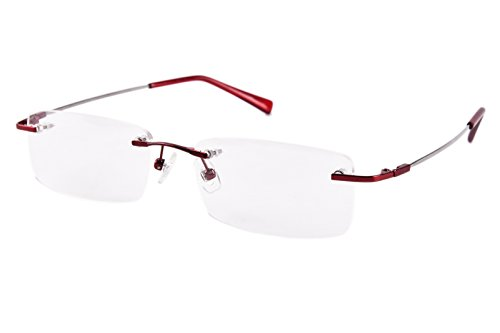 Agstum Titanium Alloy Flexible Rimless Frame Prescription Eyeglasses (Red) (Frames Flexible Glasses)