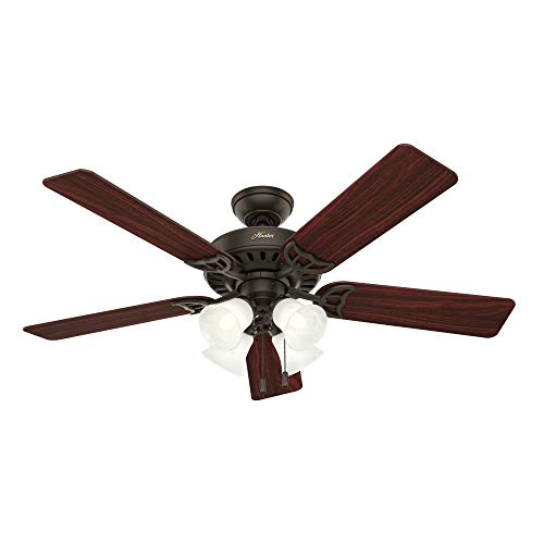 Hunter Indoor Ceiling Fan, with pull chain control - Studio Series 52 inch, New Bronze, 53067 (Ceiling Fan Light Turns On By Itself)