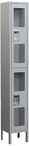 Salsbury Industries S-62168GY-U Double Tier 12-Inch Wide 6-Feet High 18-Inch Deep Unassembled See Through Metal Locker, Gray by Salsbury Industries