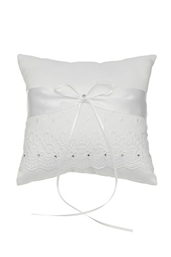 SAMKY Venus Jewelry Embroided Flower Lace Crystal Wedding Ring Bearer Pillow 7 Inch x 7 Inch - White RP008W