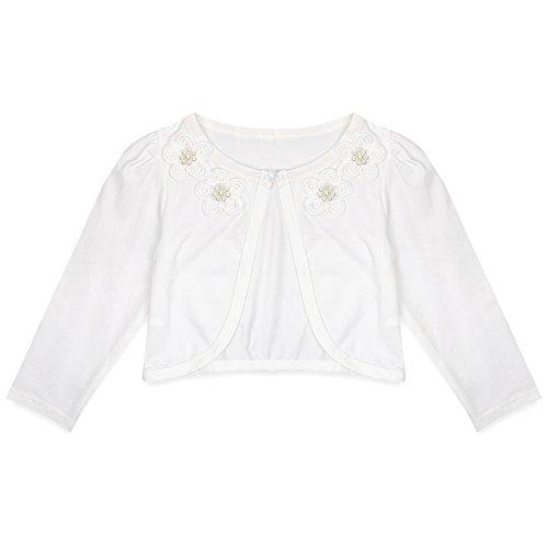 CHICTRY Little Girls' Long Sleeve Beaded Lace Bolero Cardigan Flower Girl Shrug Dress Cover Up Flower Ivory 5-6 Over Shrug