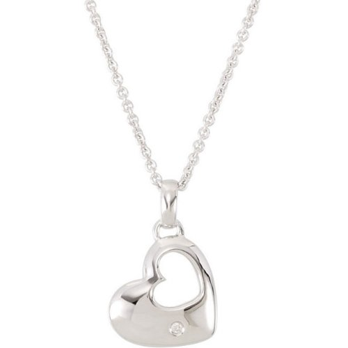 Sterling Silver Heart in a Heart Diamond Necklace, 18'' by The Men's Jewelry Store