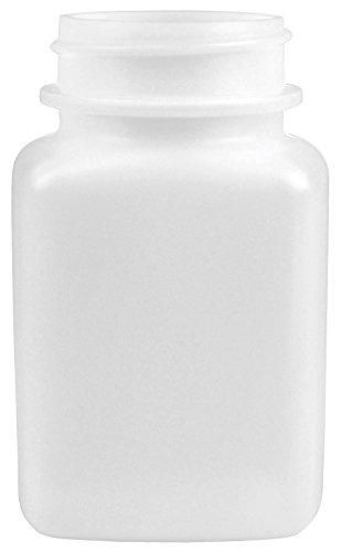 (MENDA 35727 Square High Density Polyethylene Bottle Only, Semi-Opaque, Natural White, 2 oz)