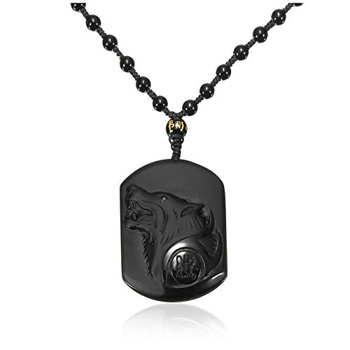 (Natural Handwork Carved Black Obsidian Wolf Head Pendant with Beads Necklac L4Y3)