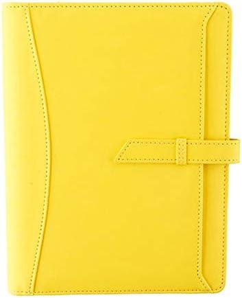 노트북 A5 출판물 통합 이동할 수 있는 핵심 저널 비즈니스 노트북 다이어리 창작 모임 녹음녹화이 작품 노트북 사무 용품 (Color: Yellow) / Notebook A5 Loose Leaf Book Removable Core Journal Business Notebook Diary Creative Meeting Record...