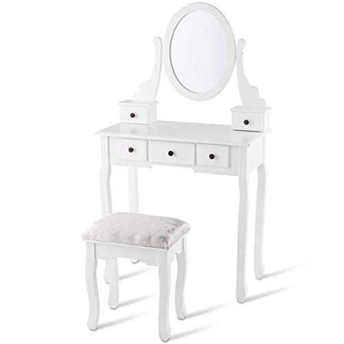 King77777 Dressing Table Set with Oval Mirror, Stool and 5 Storage Drawers -