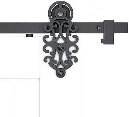 DIYHD - Soporte de hierro para puerta corredera, color negro ...