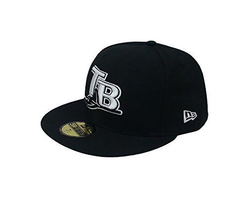 New Era 59Fifty Hat MLB Tampa Bay Rays Basic Black Cooperstown Fitted Cap (7) ()