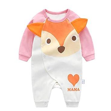 Baby Jumpsuits Reizender Karikatur-Fox-Muster-Body Jumpsuits Langarm Onesies Climbing Anzug Für Indoor Outdoor 66cm