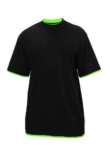 "Urban : ""Contrast Tall Tee"" Size: 4XL, Color: black-limegreen …TB029A"