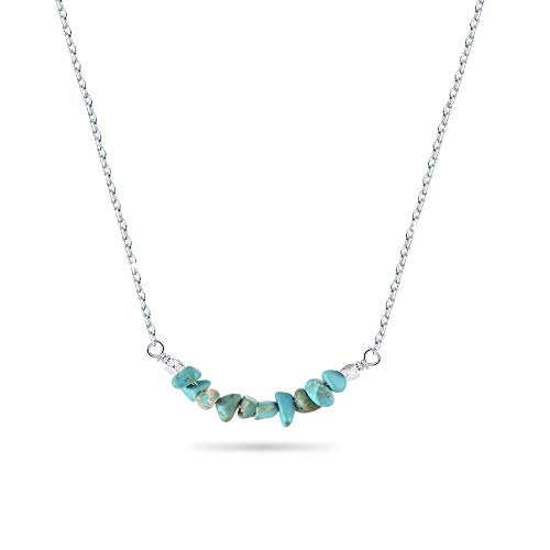 (Jeka Turquoise Natural Stone Necklace for Women Girl Gem Crystal Gift for Her 18k White Gold Bar Necklace)