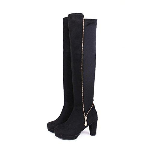Womens Fashion Slip SXC02121 Boots Black AdeeSu Resistant Urethane Platform aw4Ad