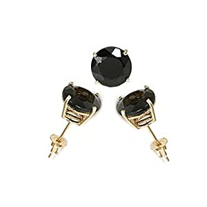 14K Yellow Gold Stud Earring Aprx .50 Carat Total Weight, 4mm Each Round Black Simulated Diamond Earring. Set on High Quality Prong Setting & Friction Style Post