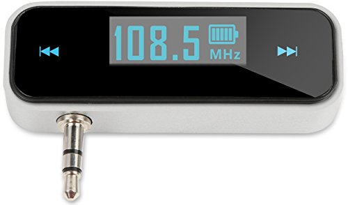 Radio Station Transmitter - Kocaso Mini Universal Wireless FM Radio Transmitter (3.5mm Jack for Phone, MP3 Player, Universal Aux Port Devices, Radio Station Transmitting, USB, Digital Display) - Silver/Black