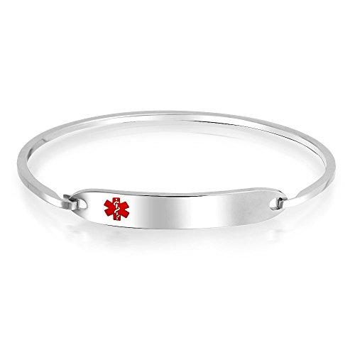 Medical Identification Doctors Engravable Medical Alert ID Bangle Bracelet for Women Silver Tone Stainless Steel