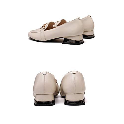 Pour Automne Blanc Taille Noir Et Printemps Femmes cn36 Une Avec Pédale uk4 Single Épais Occasionnels couleur Shoes Sauvages Simples Td Chaussures Eu36 Escarpins Xwq6B64