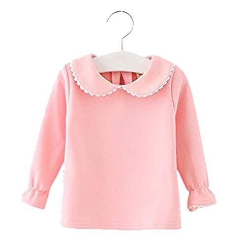 Baby Girls Cotton Long Sleeve T Shirt Blouse Tops Bottom Tee Size 12-18Months (Pink) ()