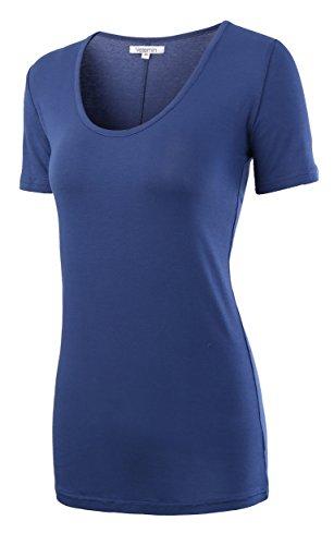 Vetemin Women's Premium Basic Fitted Soft Short Sleeve Deep V Neck T Shirt Tee Slate Blue - Shirt T Slate