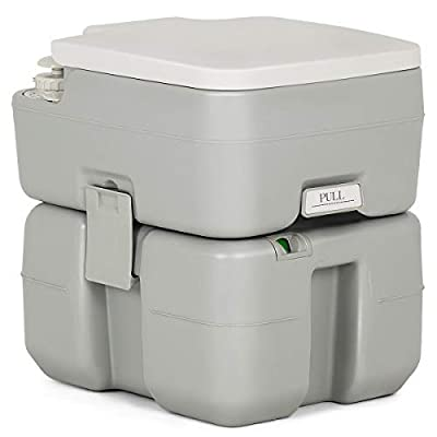 KCHEX>>>5.3 Gallon Portable Travel Toilet Outdoor Camping Toilet w/Piston Pump Flush>The portable toilet is a must for outdoor activities; no power or water source required! Rugged, portable, comfort