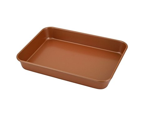 Home N Kitchenware Collection Roaster Pan, Carbon Steel, 10'' x 14'', Copper Non-stick Coating