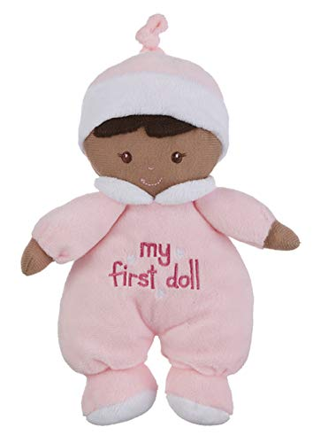 Ganz My First Doll Dollies Soft Plush Girl with Dark Complexion and Black Hair Pink Outfit, Hat. She Rattles!