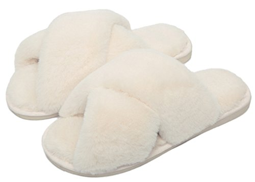 Fluffy FreLO Women Slippers White Cute Plush Upper Slippers Crossed HZqRa