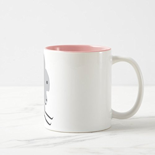 Zazzle Cute Ski Bunny Snow Skiing Coffee Mug, Pink Two-Tone Mug 11 (Pink Ski Bunny)