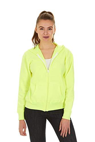 (Hanes Women's Full Zip EcoSmart Fleece Hoodie, Neon Lemon Heather, 2XL)