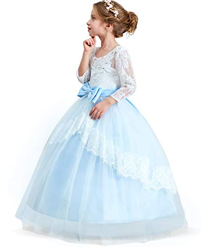 TTYAOVO Girls Lace Backless Ball Gowns Chiffon Flower Princess Pageant Party Dress Size 10-11 Years