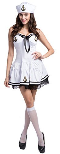 Fedo Design Sweetheart Nautical Doll Pin-Up Sailor Sea Captain Costume Anchors Away Lace (Pin Up Doll Halloween Costumes)