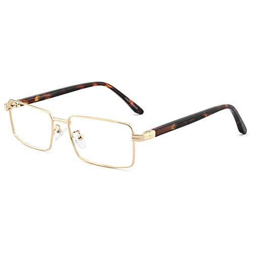 OCCI CHIARI Men Fashion Metal Full-Rim Optical Eyewear Frames With Clear Lenses (15082- Gold(Anti Blue ()