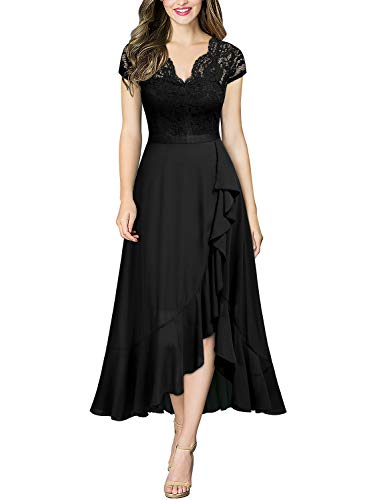 Miusol Women's Formal Floral Lace Ruffle Cocktail Party Dress,Medium,C-Black